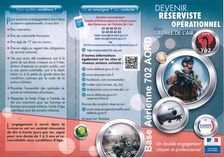 réserviste opérationnel dans l'armée de l'air