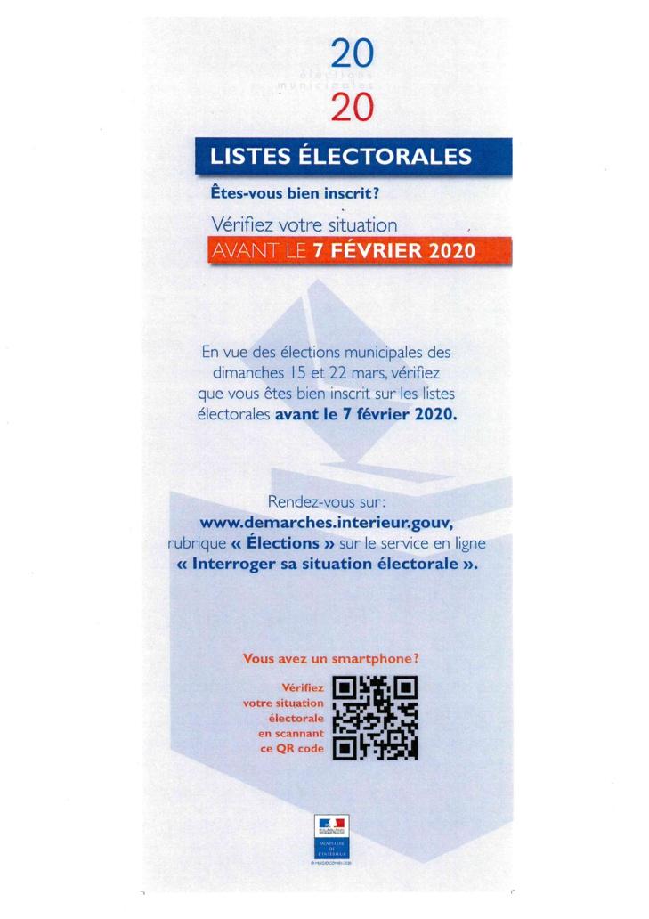 Elections municipales 2020 : modification de la liste éléctorale