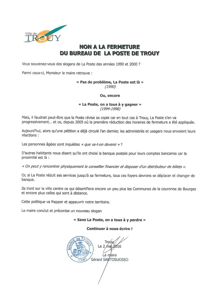 NON A LA FERMETURE DU BUREAU DE  LA POSTE DE TROUY