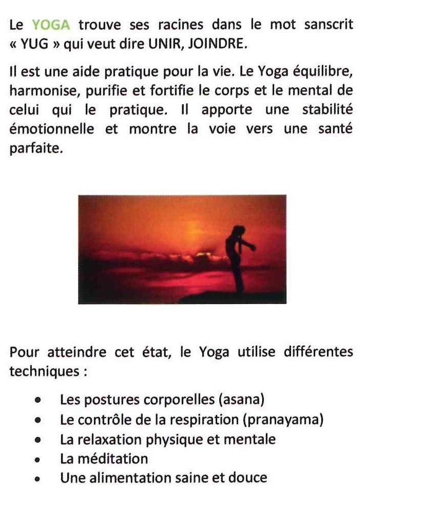 Nouveau cours de Yoga
