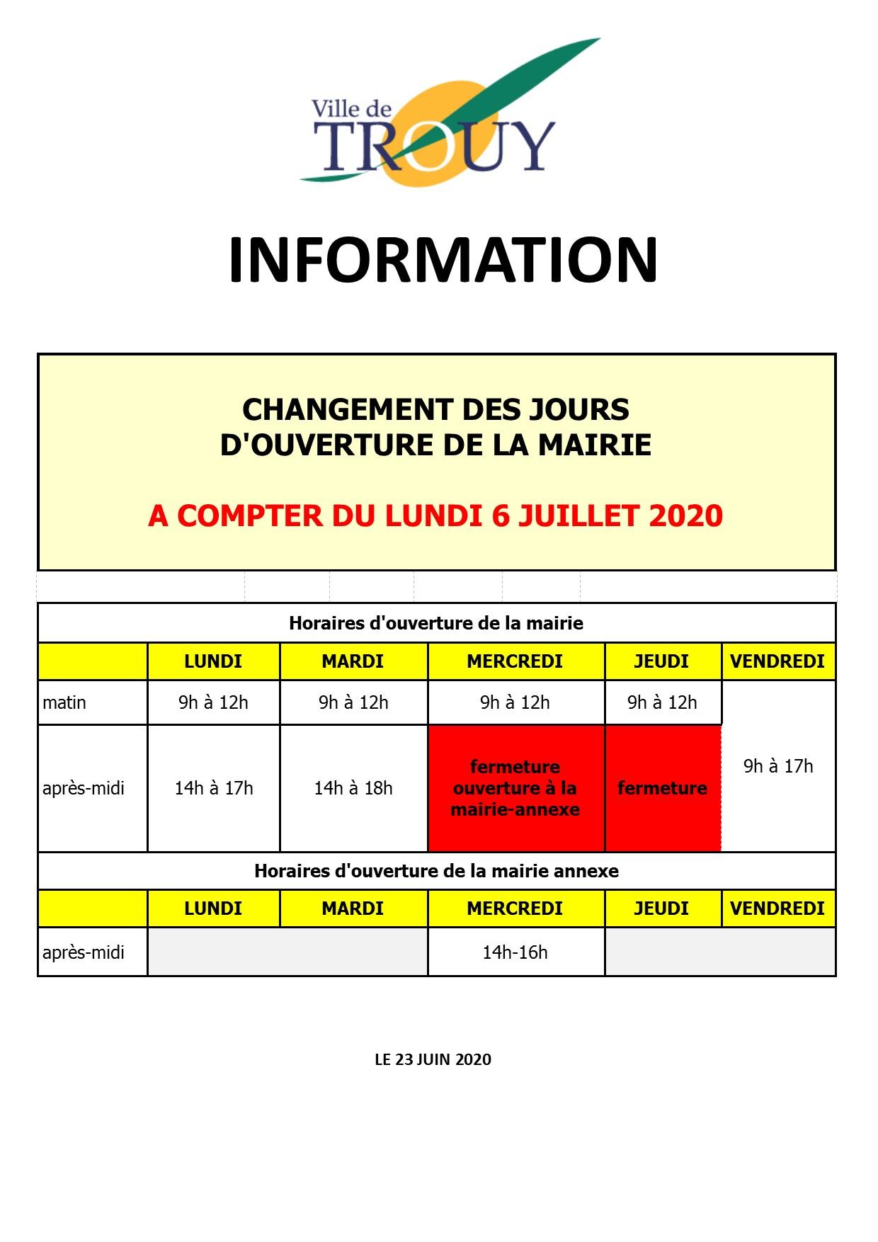 Changement horaires Mairie