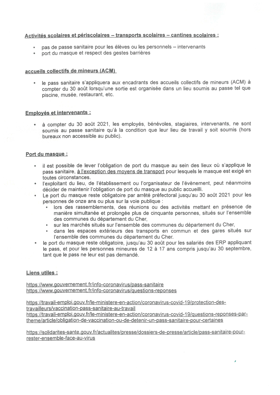 Nouvelles dispositions pass sanitaire au 18 août 2021